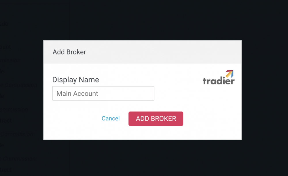 Adding a broker to Options Cafe